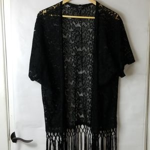 Rue21 black lace  cardigan duster